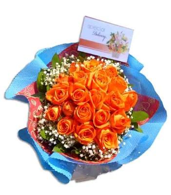 Buket Bunga Mawar Orange
